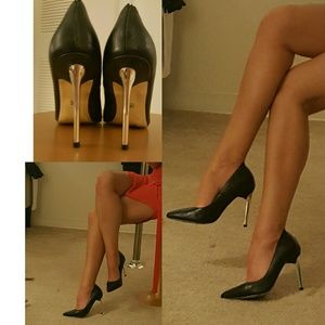 Bebe Black Silver Stilletos Pointed Shoes Heels 6
